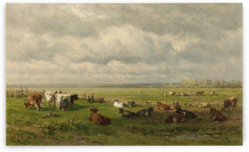 Weidelandschap met vee by Willem Roelofs