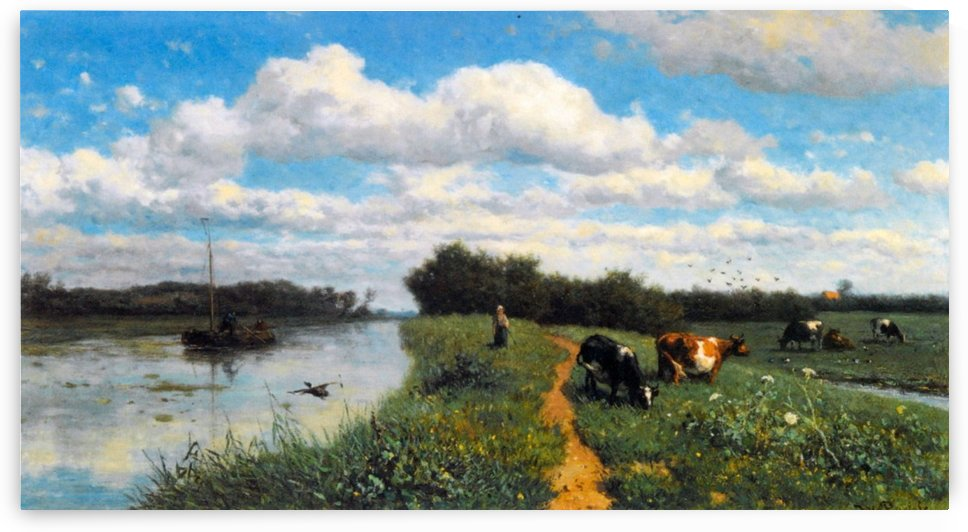 Cows Grazing Near a Canal by Willem Roelofs