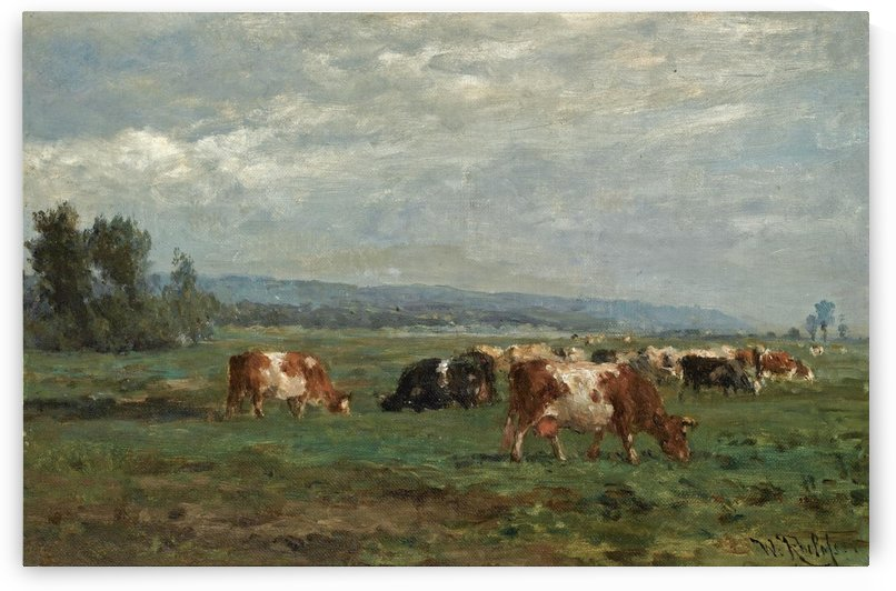 Cows in a Summer landscape near the Hague by Willem Roelofs