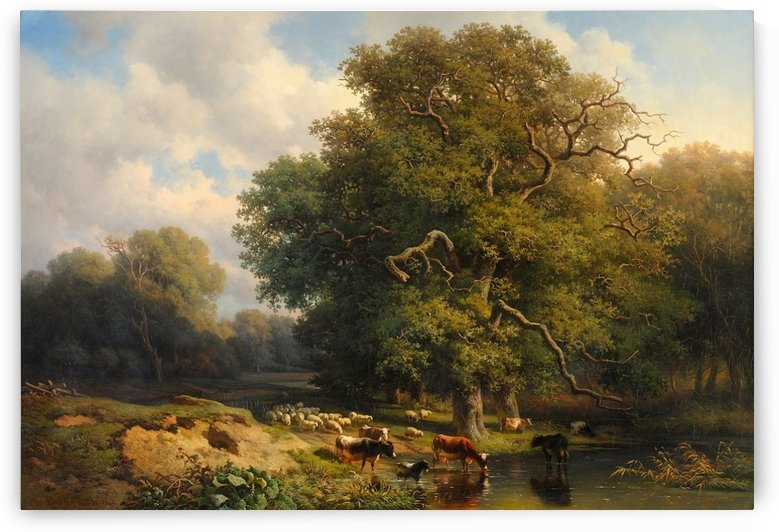 Forrest with river and animals by Willem Roelofs