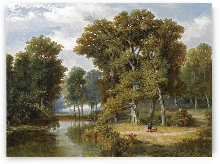 A hunter and an angler in a wooded landscape by Willem Roelofs
