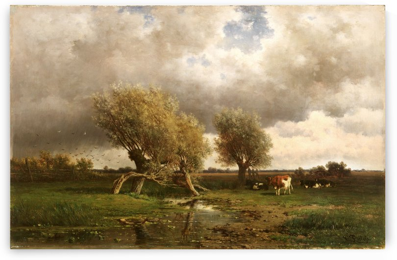 Landscape with river, cows and trees by Willem Roelofs