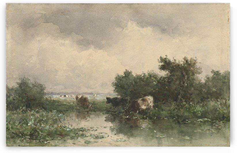 Drie koeien aan een plas by Willem Roelofs
