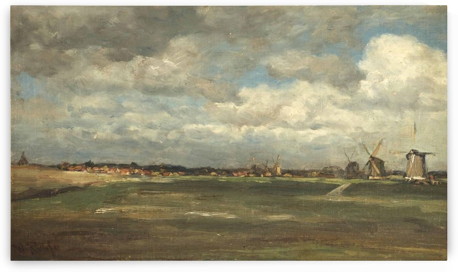 A polder landscape with mills near Rotterdam by Willem Roelofs
