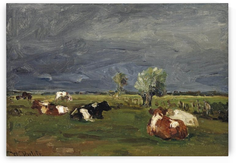 Cows in a pasture by Willem Roelofs