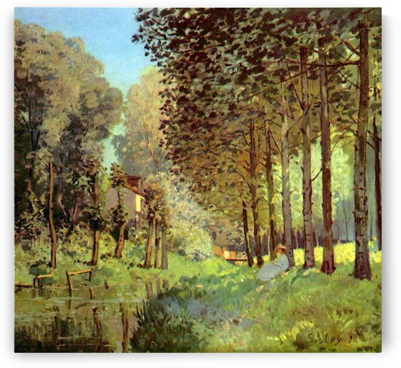 Resting on the river bank by Sisley by Sisley