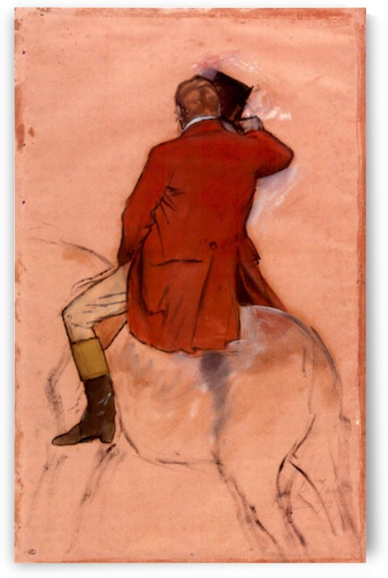 Rider with red jacket by Degas by Degas
