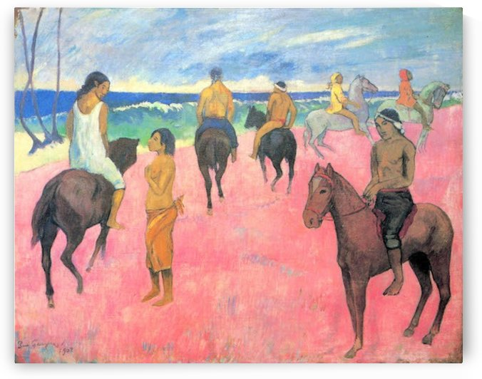 Riding on the beach by Gauguin by Gauguin