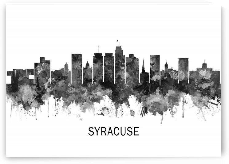 Syracuse New York Skyline BW by Towseef Dar