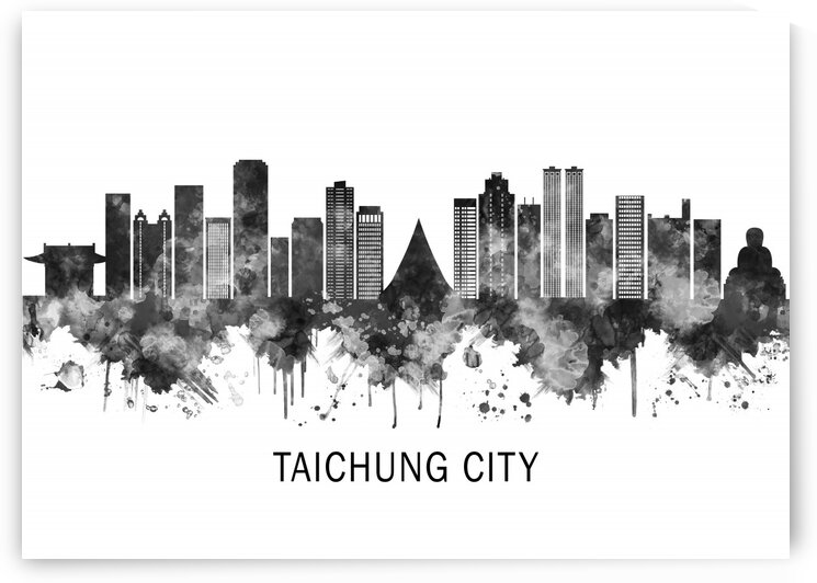 Taichung City Taiwan Skyline BW by Towseef Dar