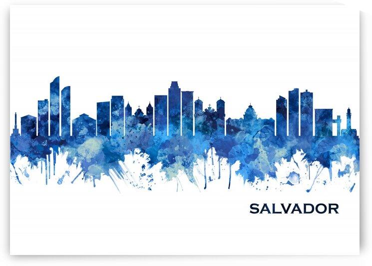 Salvador Brazil Skyline Blue by Towseef Dar