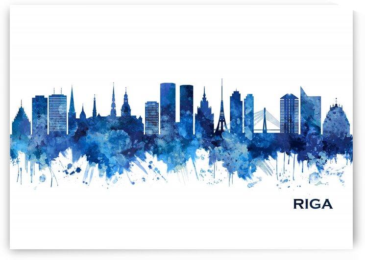 Riga Latvia Skyline Blue by Towseef Dar