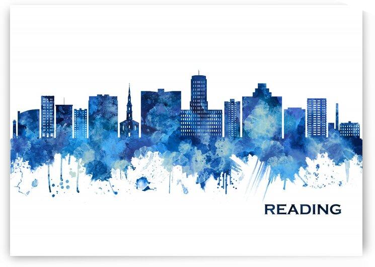 Reading Pennsylvania Skyline Blue by Towseef Dar