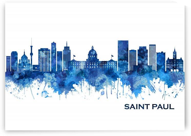 Saint Paul Minnesota Skyline Blue by Towseef Dar