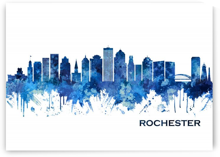 Rochester New York Skyline Blue by Towseef Dar
