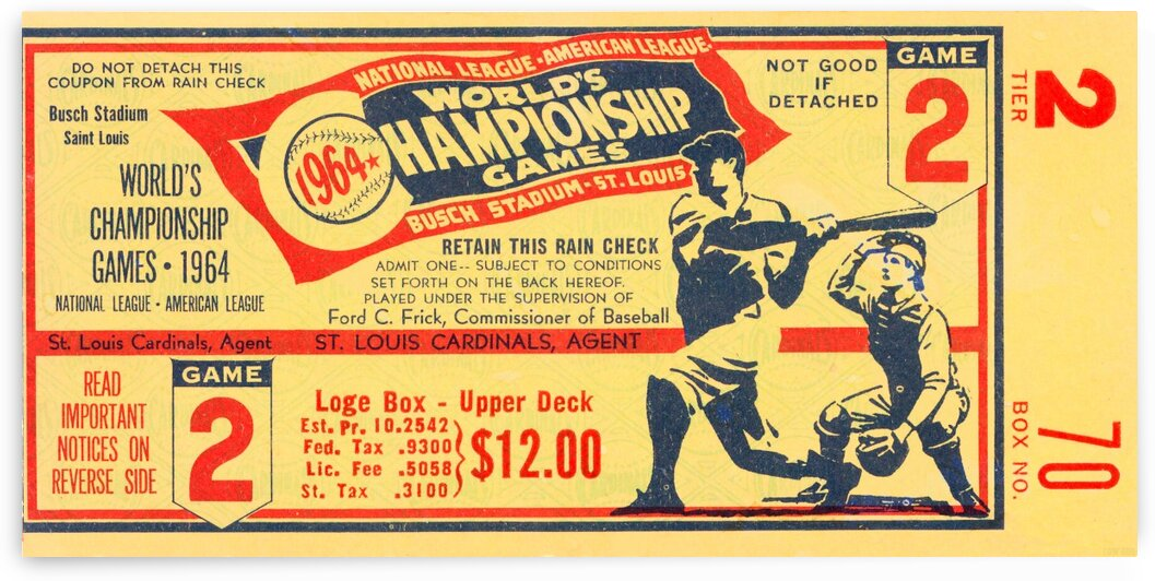 1964 Cardinals World Series Ticket by Row One Brand