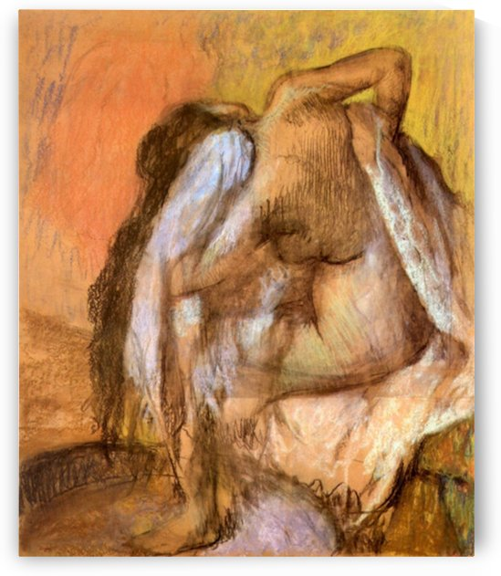Seated female nude drying neck and back by Degas by Degas