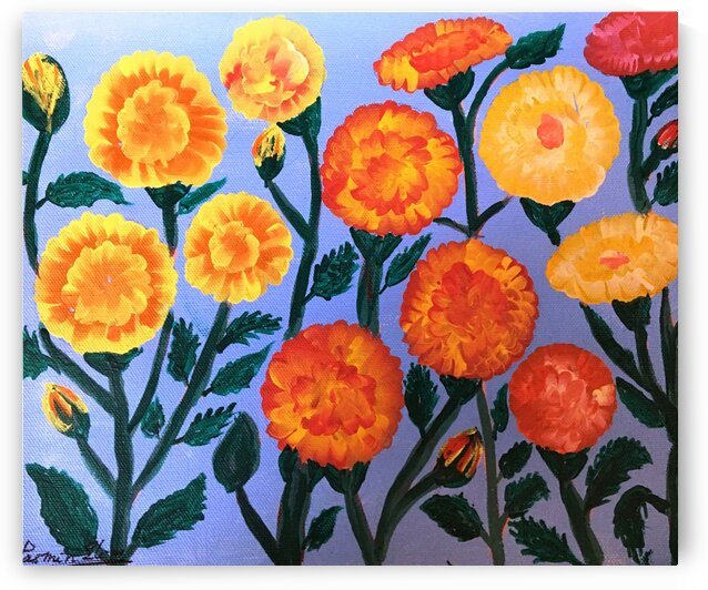 Marigold Flowers Acrylic -Wall Art by Yasmin MUhammad Elias