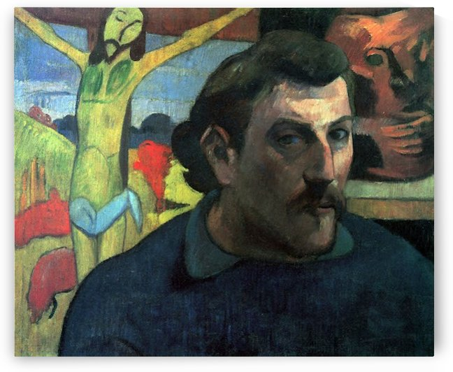 Self Portrait with Yellow Christ by Gauguin by Gauguin