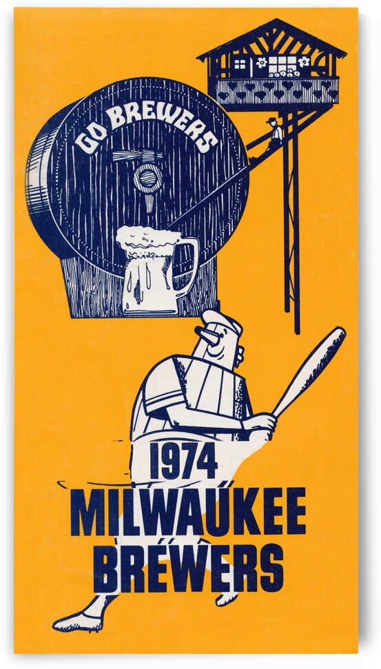 1974 Milwaukee Brewers Retro Poster by Row One Brand