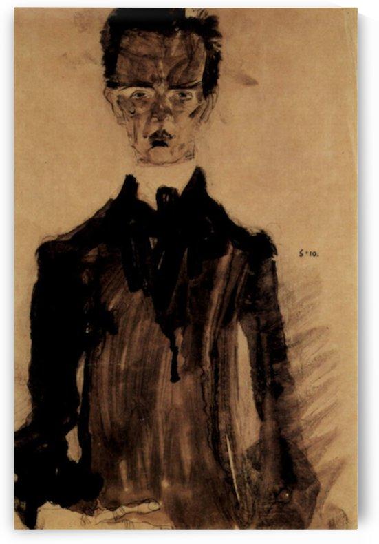 Self-Portrait in a black robe by Egon Schiele by Egon Schiele