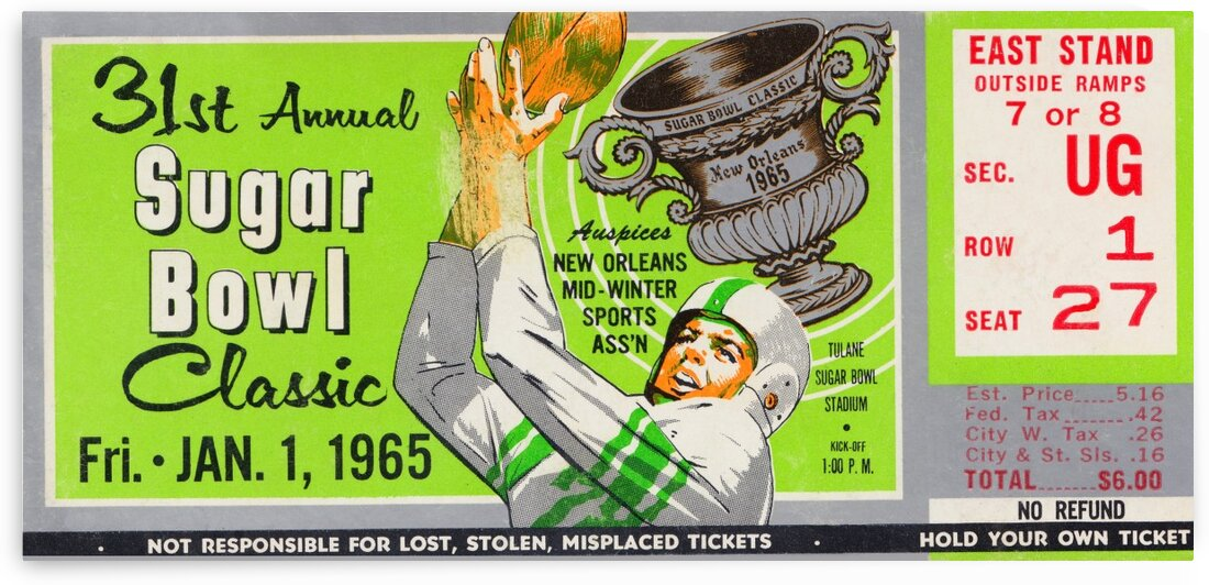 1965 Sugar Bowl Ticket Wall Art LSU Win by Row One Brand