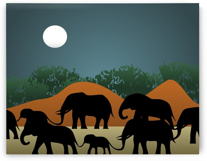 Elephant Family Illustration by Daniel Ferreia Leites Ciccarino