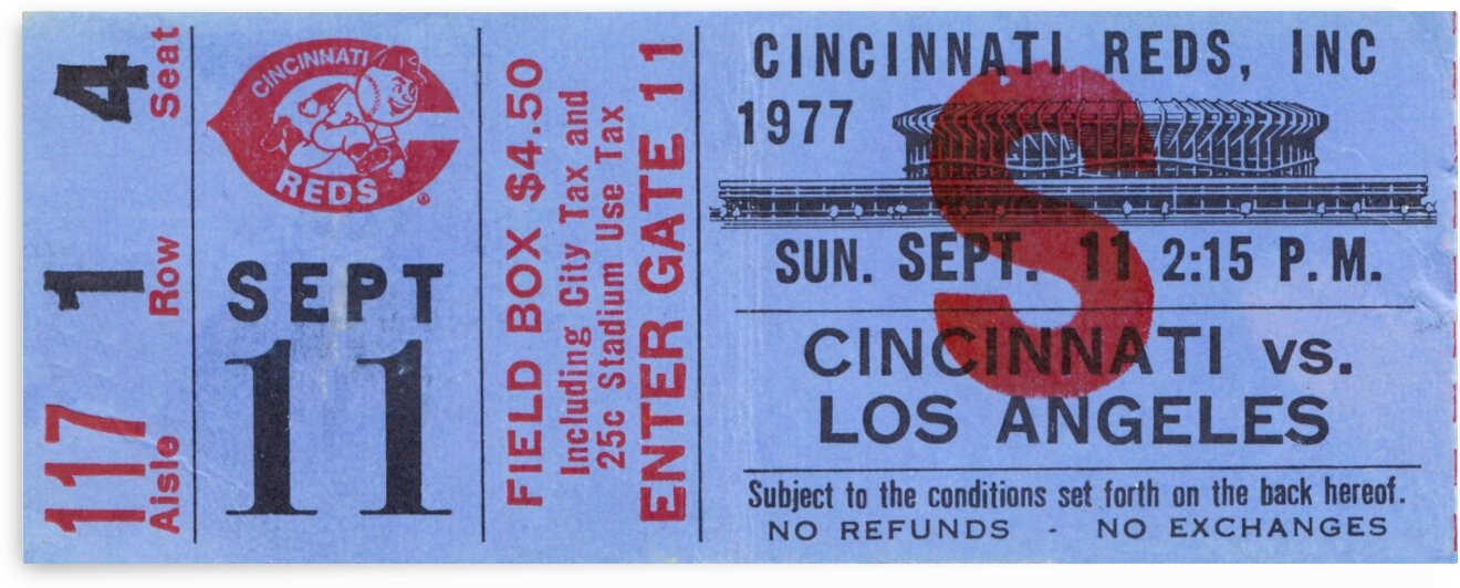 1977 Cincinnati Reds vs. Dodgers by Row One Brand