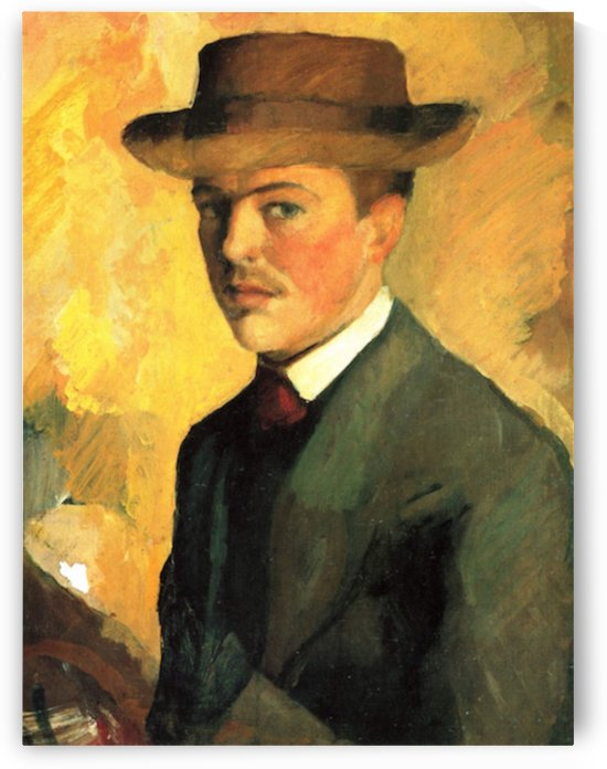 Self-Portrait with Hat by Macke by Macke