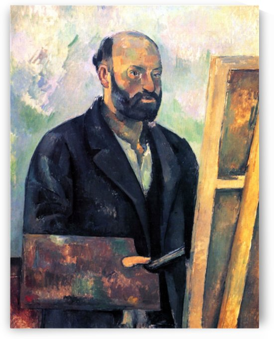 Self-portrait with Pallette by Cezanne by Cezanne