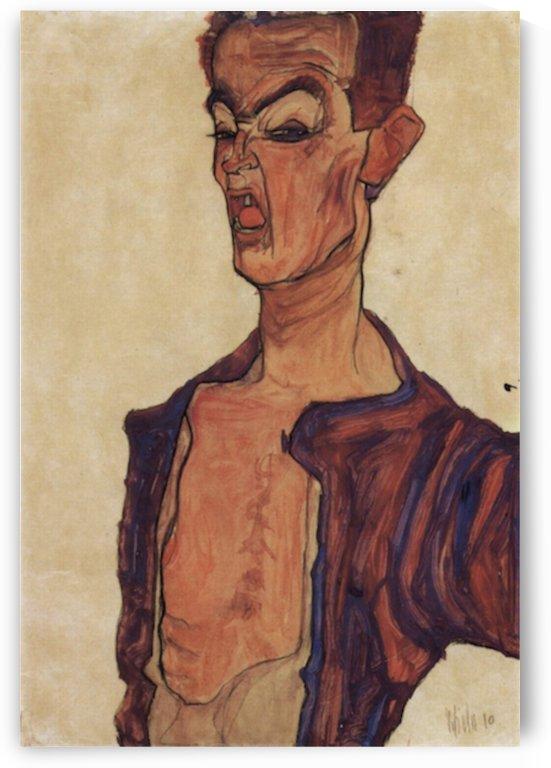 Self-Portrait, a grimace scissoring by Egon Schiele by Egon Schiele