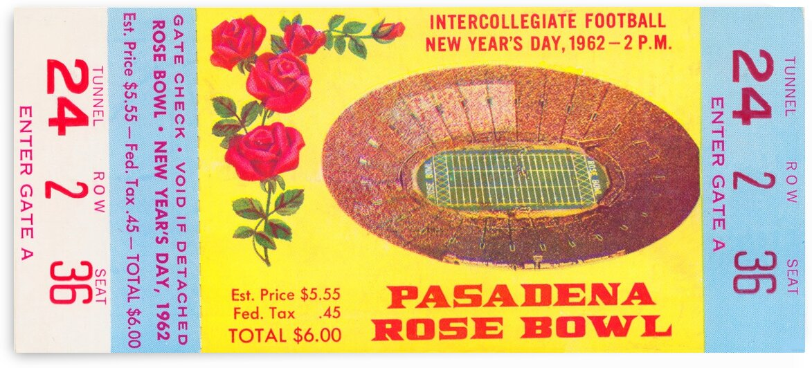 1962 Rose Bowl Minnesota Win by Row One Brand