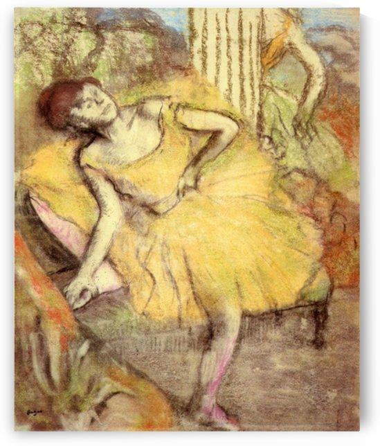 Sitting dancer with the right leg up by Degas by Degas