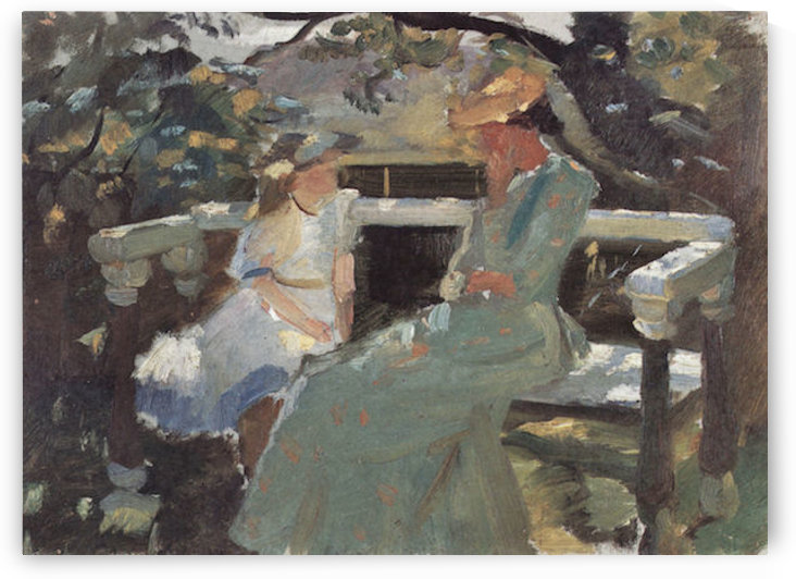 On the garden bench, and Anna Hekga Thorup by Anna Ancher by Anna Ancher