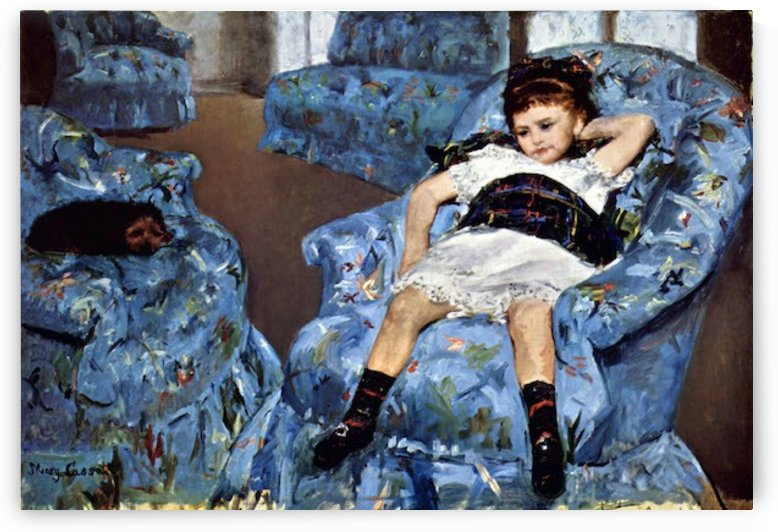 Small girl in the blue armchair by Cassatt by Cassatt