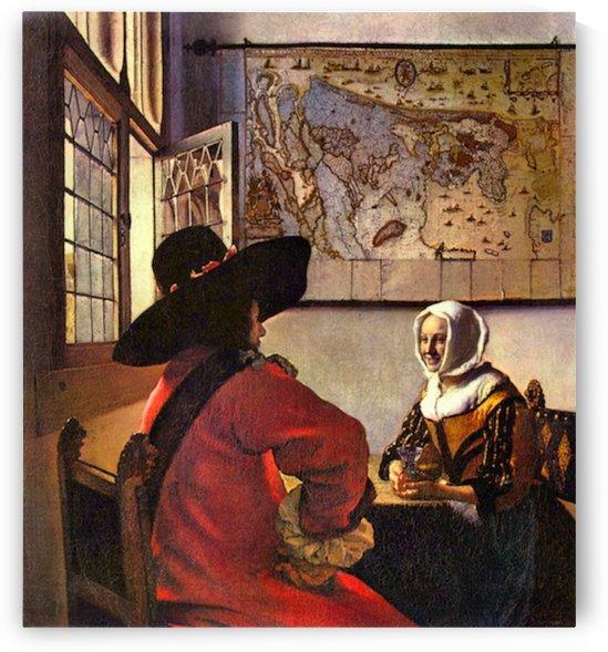 Soldier and girl smiling by Vermeer by Vermeer