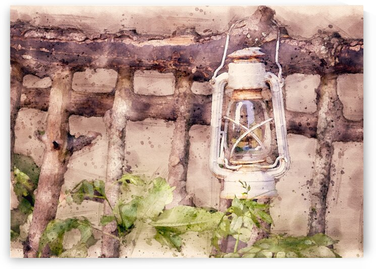 Maine Country Fence and Lantern by Bob Orsillo