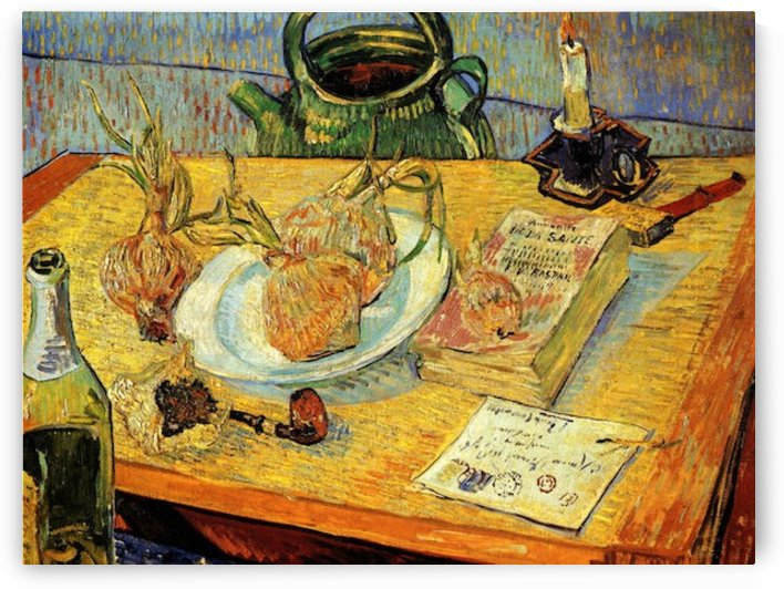 Still Life Drawing Board Pipe Onions and Sealing-Wax by Van Gogh by Van Gogh