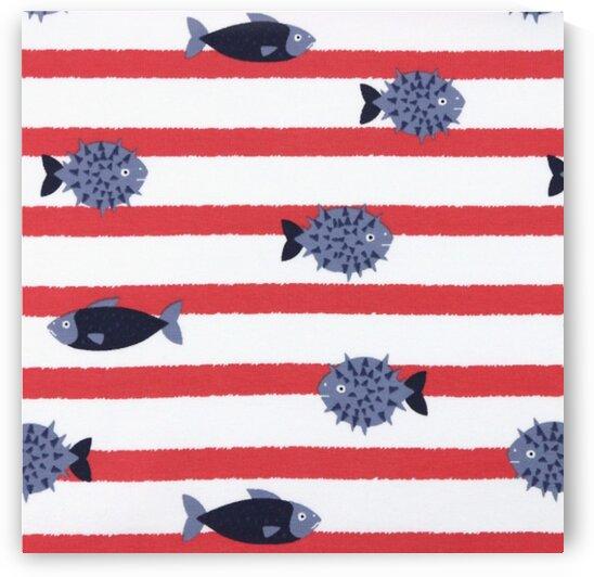 Stripes & Fish - Coral - Ivory by Mutlu Topuz