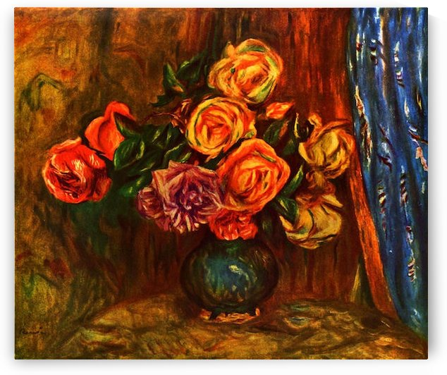 Still life roses before a blue curtain by Renoir by Renoir