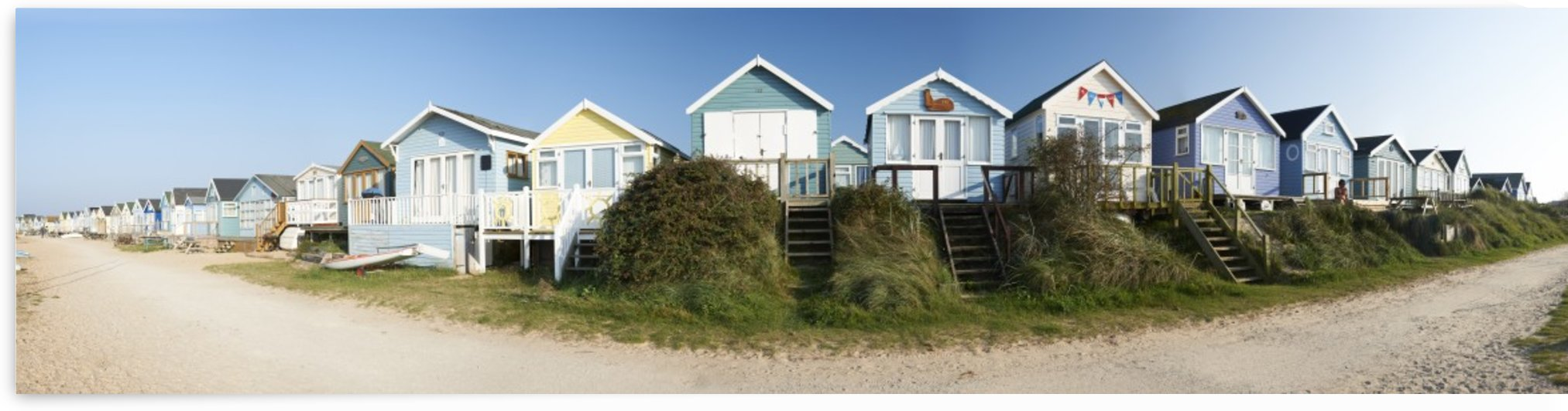 Panorama of Beach Huts by Adrian Brockwell