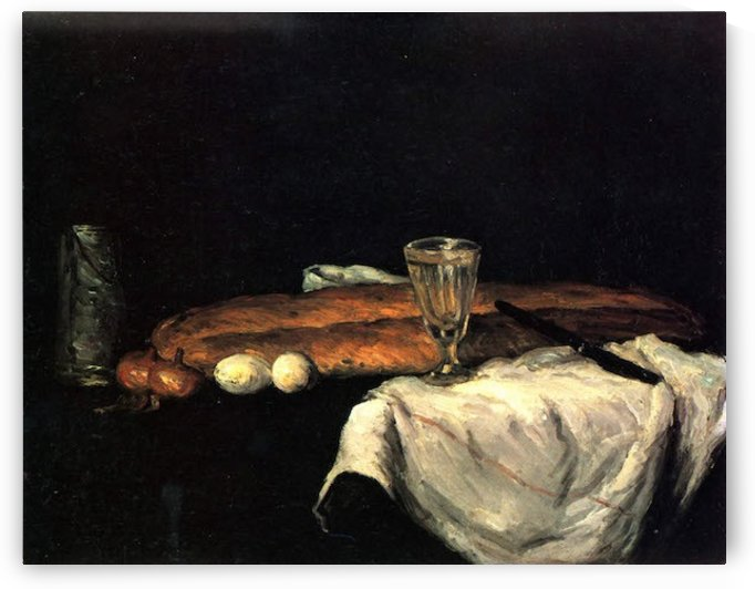 Still life with bread and eggs by Cezanne by Cezanne