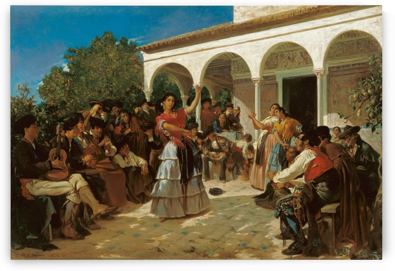 A Gypsy Dance in the Gardens of the Alcazar by Alfred Dehodencq