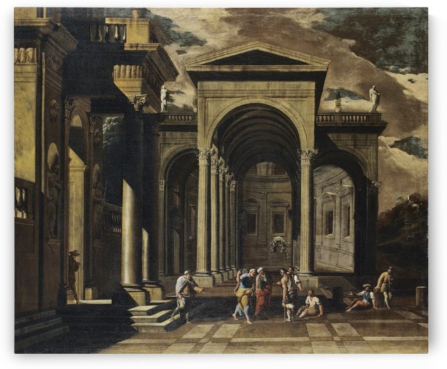 A capriccio of the exterior of an elaborate palace with Saint Peter healing the lame by Viviano Codazzi