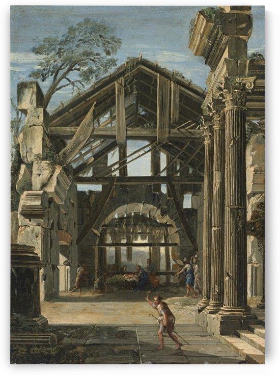 The Nativity in an Ancient Ruin by Viviano Codazzi