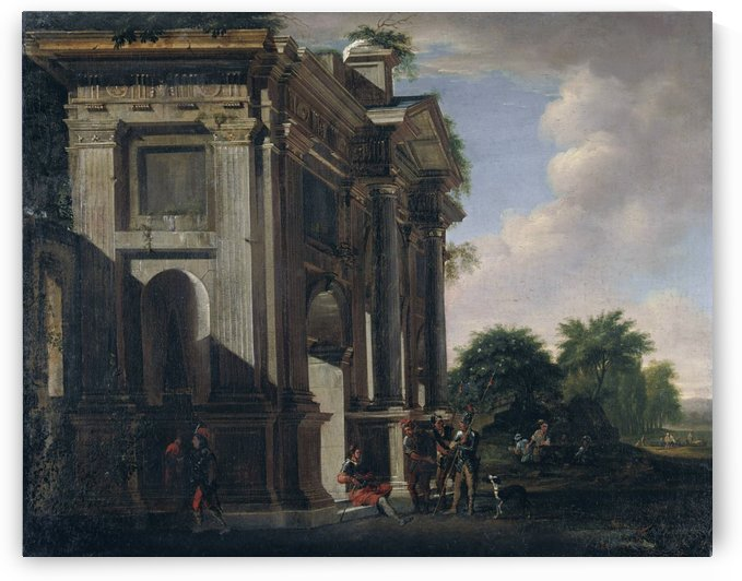Caprice of a triumphal arch and soldiers by Viviano Codazzi