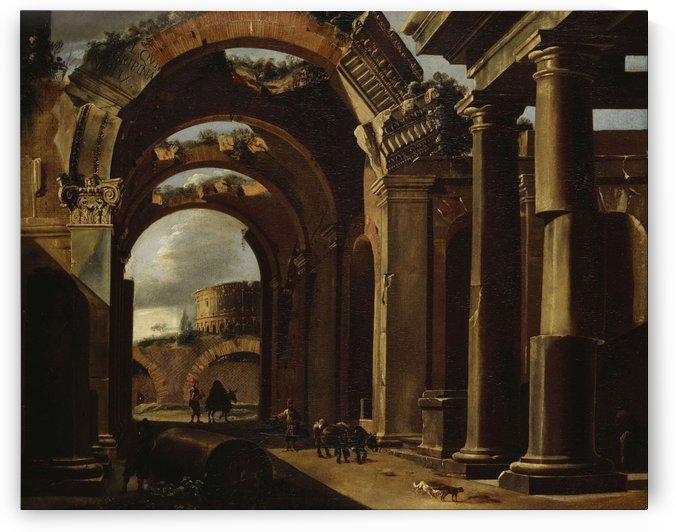 Classical Ruins with the Colosseum by Viviano Codazzi