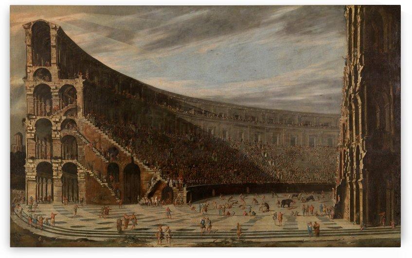 Perspectival view of a Roman amphitheatre by Viviano Codazzi