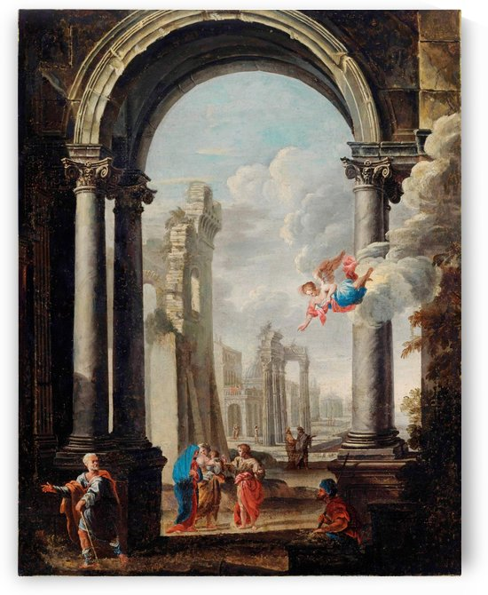 Architectural capriccio with the Holy Family by Viviano Codazzi