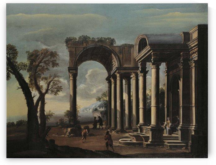 Architectural capriccio with figures by Viviano Codazzi